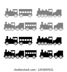 Train vector icons on white background