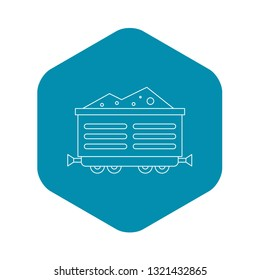 Train waggon with coal icon. Outline illustration of train waggon with coal vector icon for web
