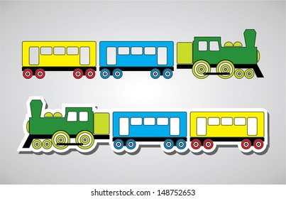 Train and wagon in colors, vector illustration