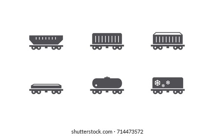 Train, wagon shipping icons. Logistic pictograms for cargo