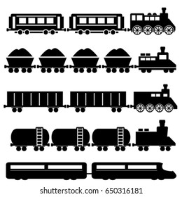 Train with wagons, railroad and subway