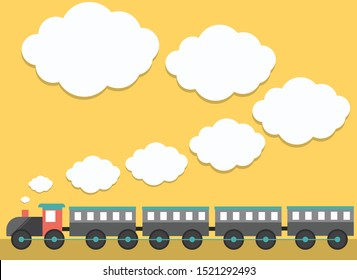 train with white smoke space for text, vector, illustration