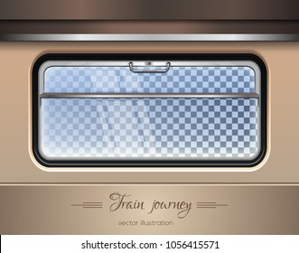 Train window. Window of the train on a transparent background with the ability to change the landscape outside the window. Vector illustration