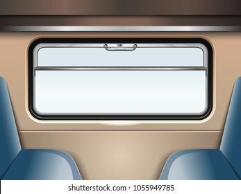 Train window. Passenger train inside. Travel and transportation by train. Train Journey. Vector illustration