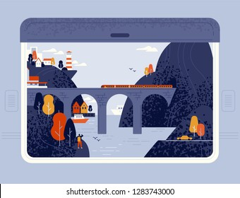 Train window view on seaside town, sea, lighthouse, cliffs and railway bridge. Around the world trip, railroad travel or journey through beautiful places. Modern vector in flat cartoon style.