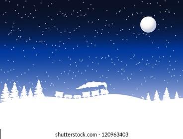 Train in a winter landscape