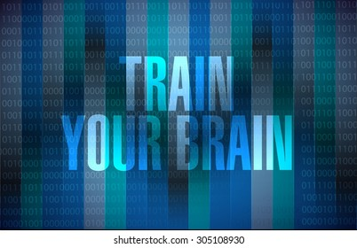 train your brain binary sign concept illustration design