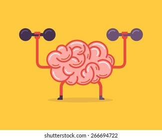 Train your brain. Creative concept, vector illustration.