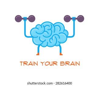 Train your brain. Creative concept, vector illustration.