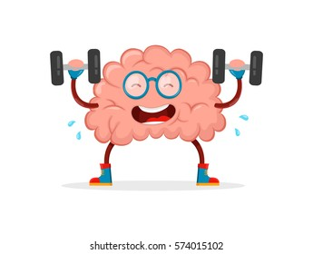 train your brain. genius brain vector cartoon flat illustration fun character creative design. education,science,smart,brain fitness concept.train lifts with barbell. isolated on white background