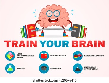 train your brain infographic.brain vector cartoon flat illustration fun character creative design.education,science,smart, brain books fitness concept.train lifts with book barbell.fiction,logic,mind