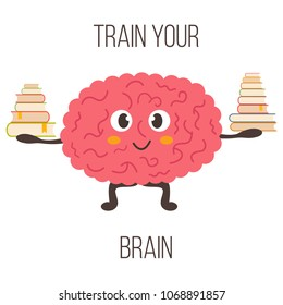 Train your brain poster with funny cartoon brain with a pile of books