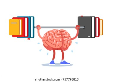 Train your brain, raise and read books. Modern flat style thin line vector illustration isolated on white background.