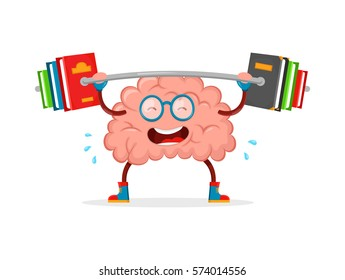 train your brain.brain vector cartoon flat illustration fun character creative design. education,knowledge,smart,brain books fitness concept.train lifts with book barbell. mind cartoon character,sport