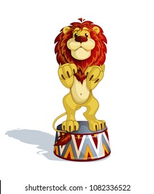 A trained lion stands on his hind legs on a circus pedestal. Performances with wild predatory animals. A cute cartoon character. Vector illustration. Isolate.