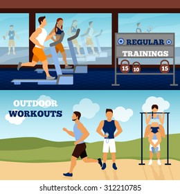 Trainer horizontal banner set with gym and outdoor workout isolated vector illustration