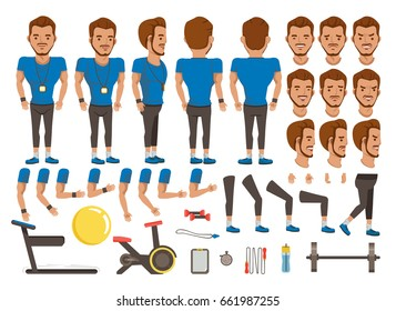Trainer man character creation set. Icons with different types of faces and hair style, emotions,  front, rear, side view of male person. Moving arms, legs. Vector illustration