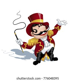 A trainer with a mustache in a red uniform with gold epaulettes, a hat on his head, a whip in his hands. A circus character in the style of a card. Vector Illustration.