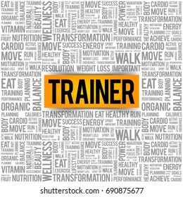 Trainer word cloud background, health concept