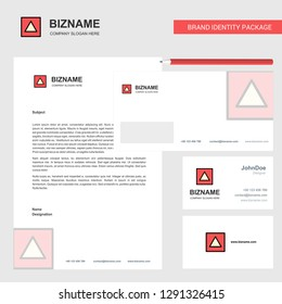 Traingle shape Business Letterhead, Envelope and visiting Card Design vector template
