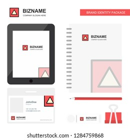 Traingle shape Business Logo, Tab App, Diary PVC Employee Card and USB Brand Stationary Package Design Vector Template