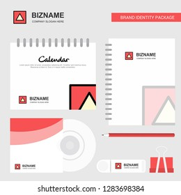 Traingle shape Logo, Calendar Template, CD Cover, Diary and USB Brand Stationary Package Design Vector Template