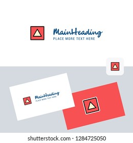 Traingle shape vector logotype with business card template. Elegant corporate identity. - Vector