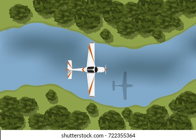 Training aircraft flying over river and forest. Landscape view from above. Top view of airplane. Vector illustration