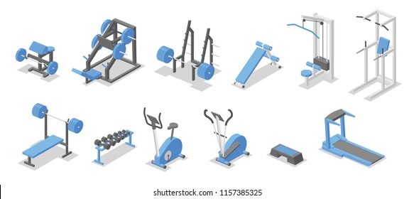 Training apparatus for the gym. Isometric set of fitness equipment symbols. Flat vector illustration. Isolated on white background.
