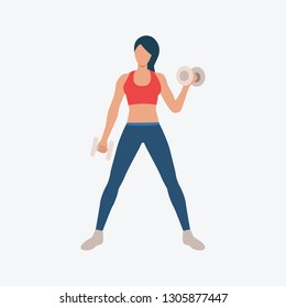 Training biceps with dumb-bells on exercise ball flat icon. Girl, woman, hand muscles. Fitness concept. Can be used for topics like gym, club, weight training