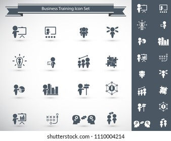 Training. Business training icon set. Vector.