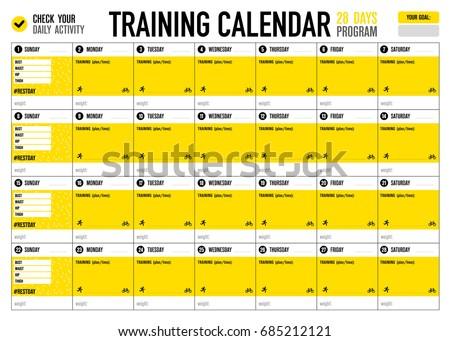 Training Calendar Template   Training Calendar Check Your Activity Big Stock Vector Royalty Free
