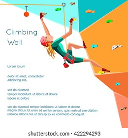 Training climbing wall with grips and holds. Rock Climbing girl. Isolated On White Background. Bouldering sport. Graphic Design Editable For Your Design. Vector Illustration