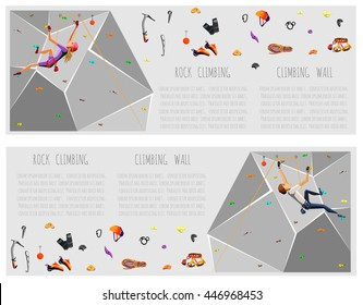 Training climbing wall with grips and holds. Rock Climbing girl and boy. On Grey Background. Bouldering sport. Graphic Design, Editable Template for your text. Vector Illustration