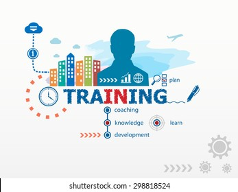 Training concept and business man. Flat design illustration for business, consulting, finance, management, career.