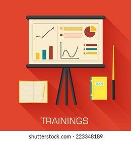 training concept design. Analytics business desk infographic with book and notepad. Vector illustration background
