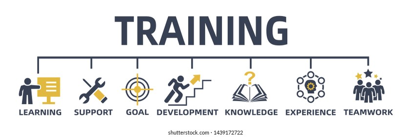 training concept. web banner with icons and keywords