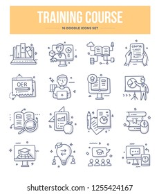 Training course and online education doodle icons collection. E-learning vector hand drawn illustrations for website and printing materials