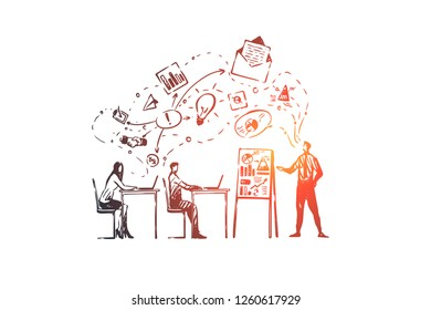 Training, courses, people, class, learning concept. Hand drawn training classroom with teacher concept sketch. Isolated vector illustration.