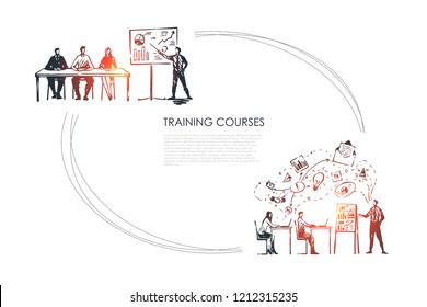 Training courses - students listening to presentation and sitting in classrom vector concept set. Hand drawn sketch isolated illustration