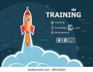 Training design and concept background with rocket. Project Training concepts for web banner and printed materials.