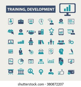 training development, business education, school, ceo, manager, businessman study, marketing case, management, teamwork, lessons, seminar, lecture icons, signs vector concept set