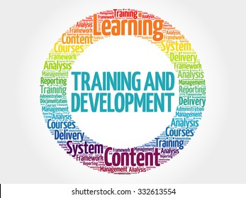 Training and Development circle stamp word cloud, business concept