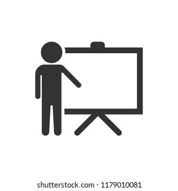 Training education icon in flat style. People seminar vector illustration on white isolated background. School classroom lesson business concept.