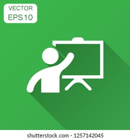 Training education icon in flat style. People seminar vector illustration with long shadow. School classroom lesson business concept.