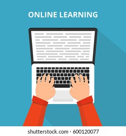 Training, education, online tutorial, e-learning concept. Laptop with information on the screen. Flat vector illustration.