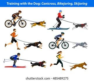 Training Exercising with dog: canicross, bikejoring, skijoring