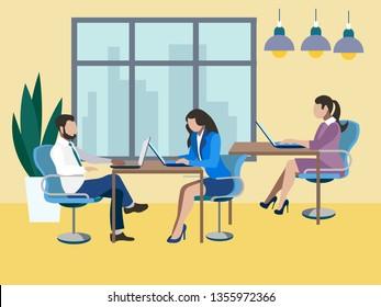 Training future employees, secretary. Office work, report. In minimalist style. Flat isometric vector illustration