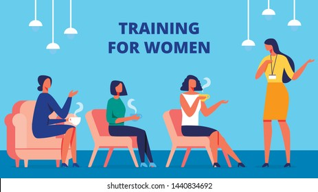 Training for Happy Women. Training Manager Communicate with Client. Vector Illustration. Room with Blue Interior. Women Sitting One After Another on Chair. Lead Discussion. Psychology Development.