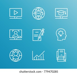 Training icon line set with enroll submit, course stats and online course. Set of idea related training icon line vector items for web mobile logo design.